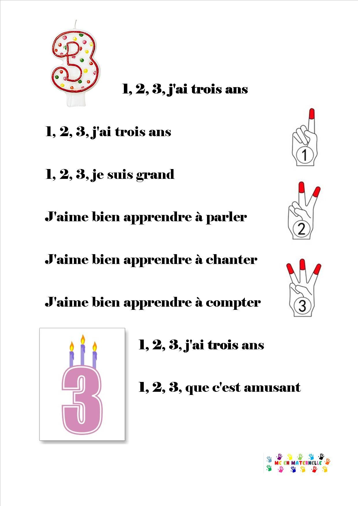 1, 2, 3 J'ai 3 Ans | Chansons Comptines, Comptines Et intérieur Comptine Bonjour Madame Lundi