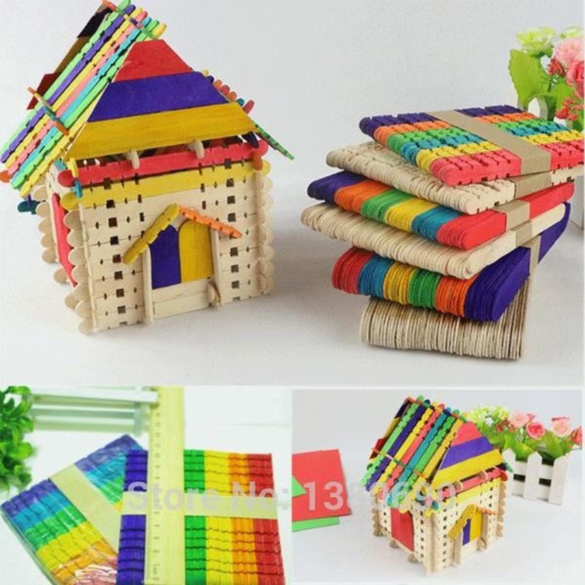 100Pcs/lot En Bois Popsicle Bâton Enfants Main Artisanat Art concernant Bricolage Avec Baton De Bois