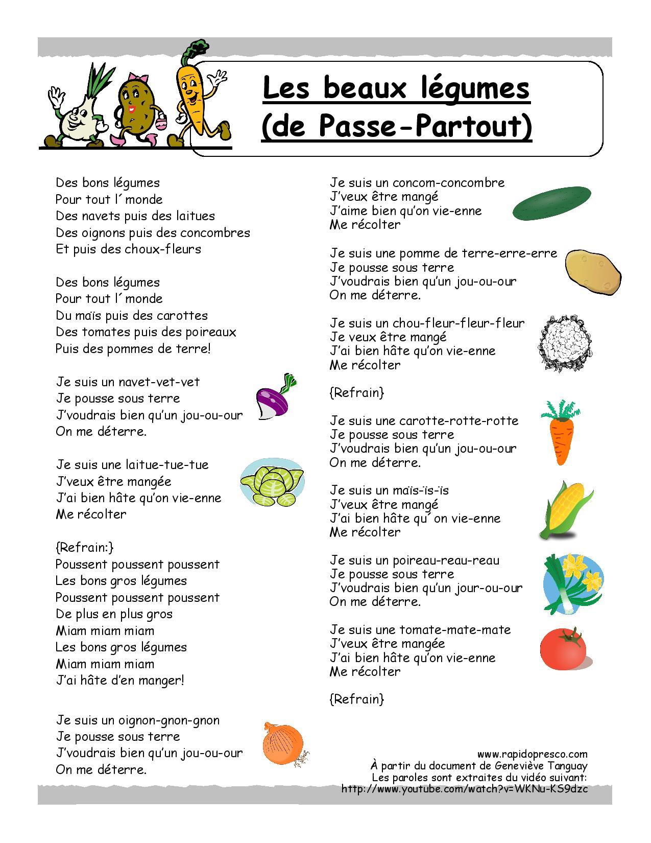 2013 – Page 5 – Rapido-Présco dedans Chanson Sur Les Fruits Et Légumes