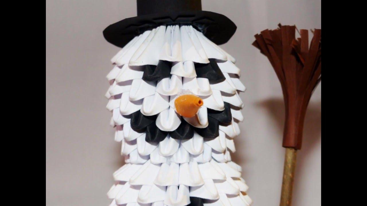 3D Origami Snowman - 3D Origami Schneemann destiné Origami Bonhomme De Neige