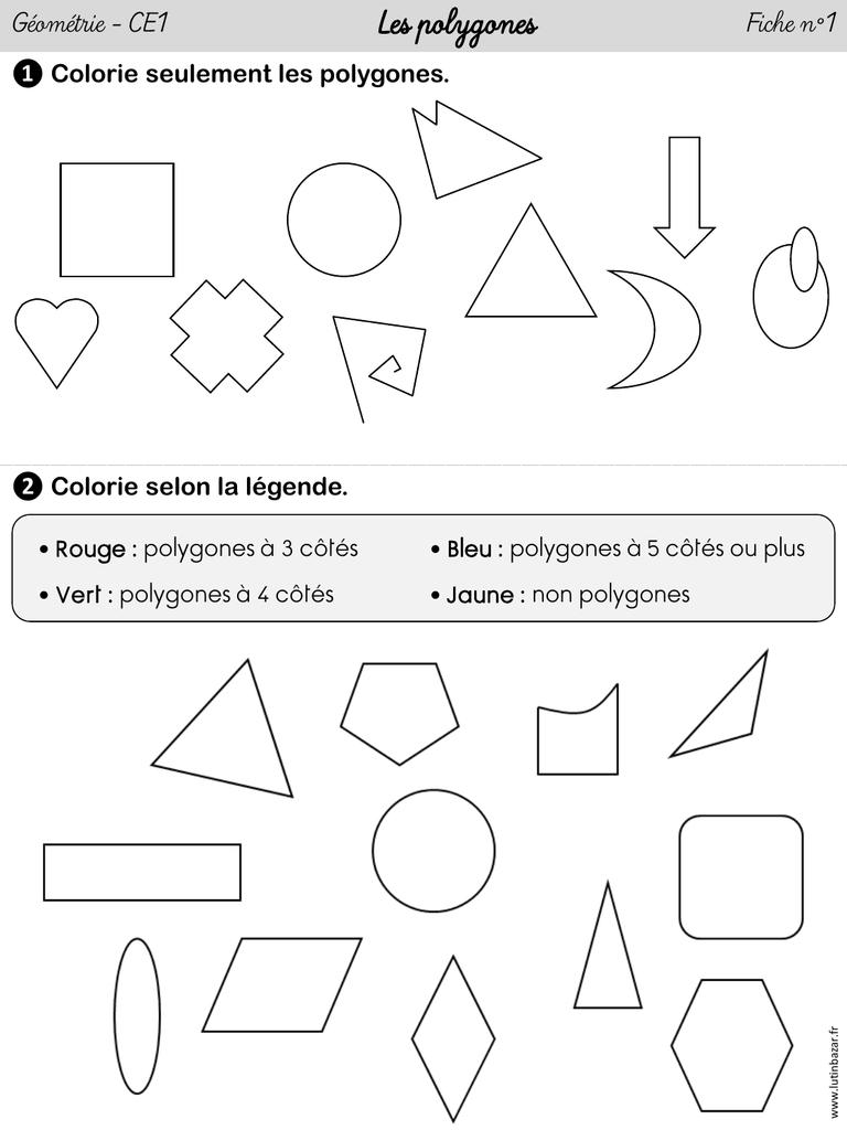 4 Fiches D`exercices « Les Polygones destiné Figures Géométriques Ce1