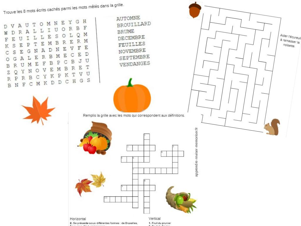 4 Jeux Autour De L'automne (Mots Croisés, Mots Mêlés à Mots Croisés Faciles À Imprimer