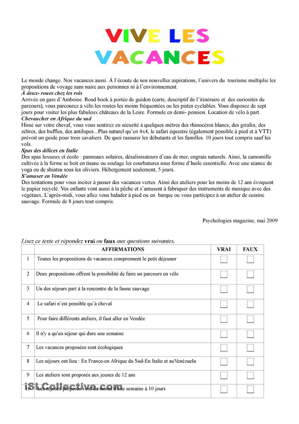 """4E - Mon Choix, Le Français!: Texte """"vive Les Vacances"""" à Poésie Vive Les Vacances"""