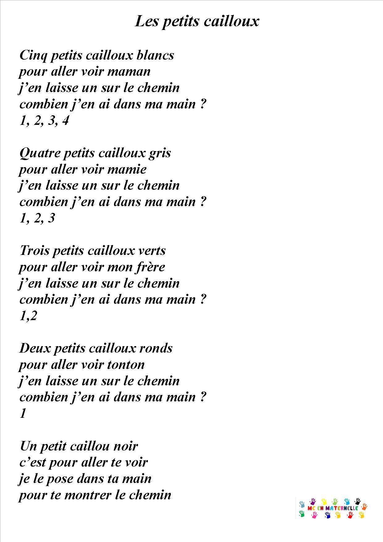5 Cailloux Blancs - Mc En Maternelle | Cailloux Blanc pour Comptine Bonjour Madame Lundi