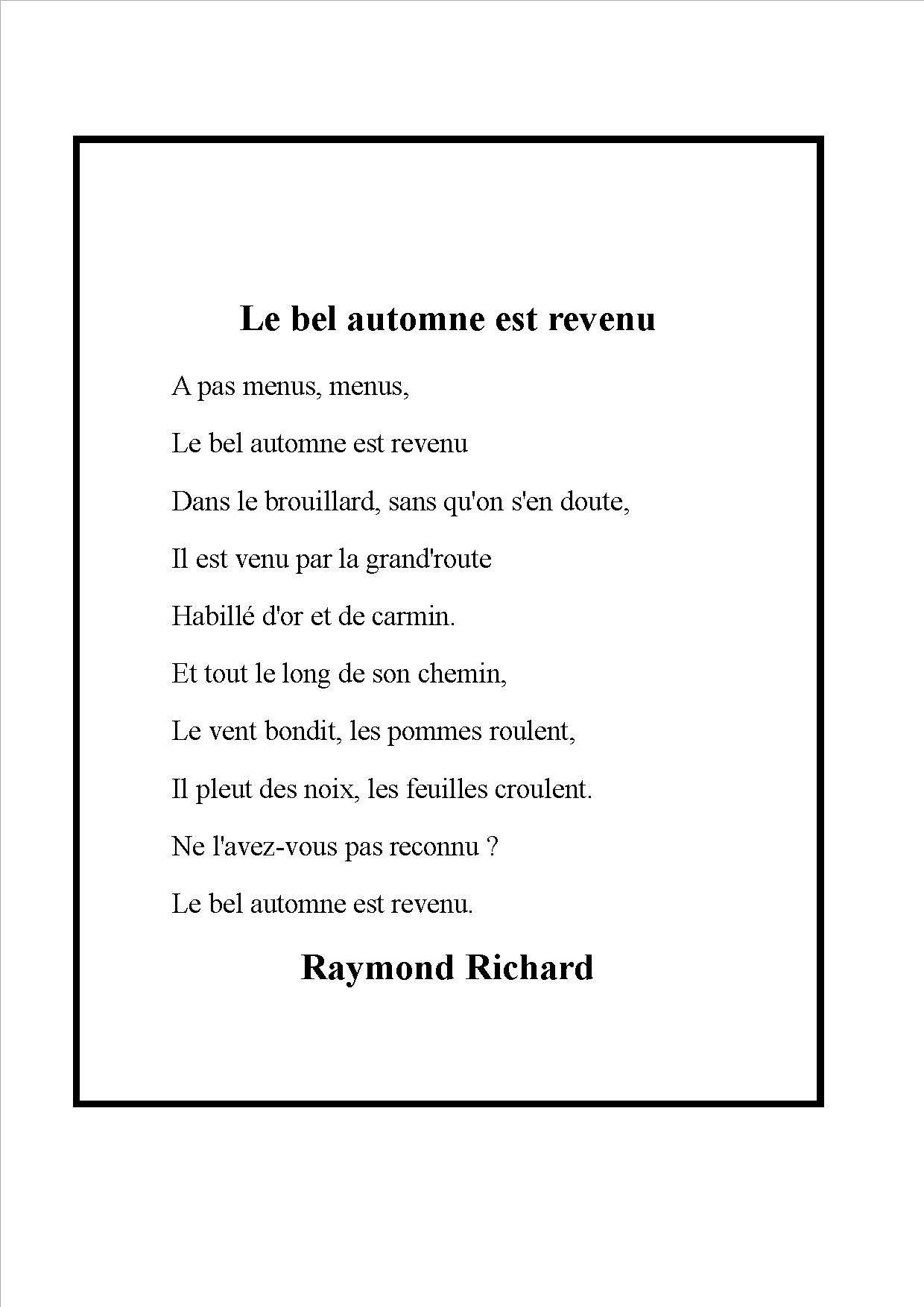 À Savourer Pour Les Inconditionnels | Comptine Automne intérieur Mars De Maurice Careme A Imprimer
