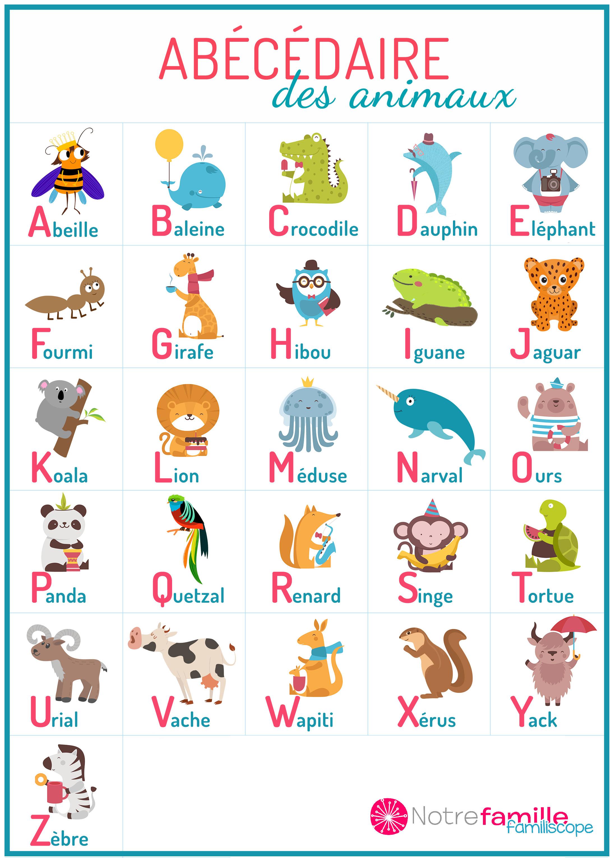 Abécédaire Des Animaux À Imprimer serapportantà Apprendre Les Animaux Pour Bebe
