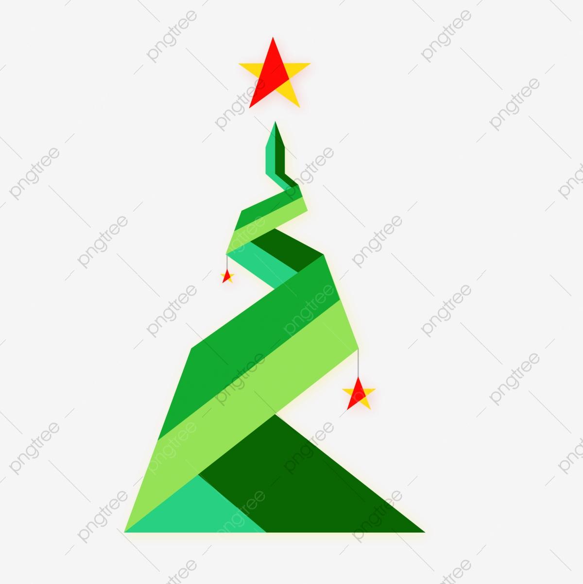 Abstract Bold Sapin De Noël Avec Star De L'origami Style pour Origami Sapin De Noel