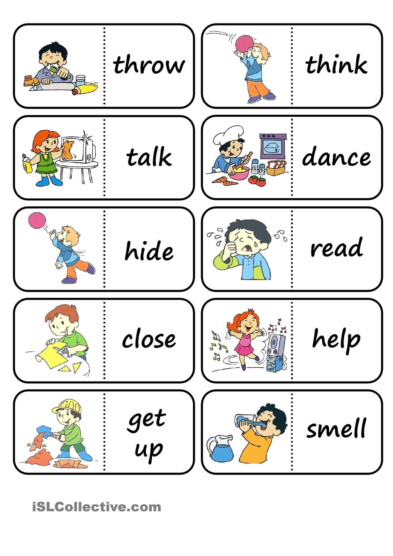 Action Words Domino   Fichas Ingles Infantil, Juegos En tout Jeux En Anglais Gratuit