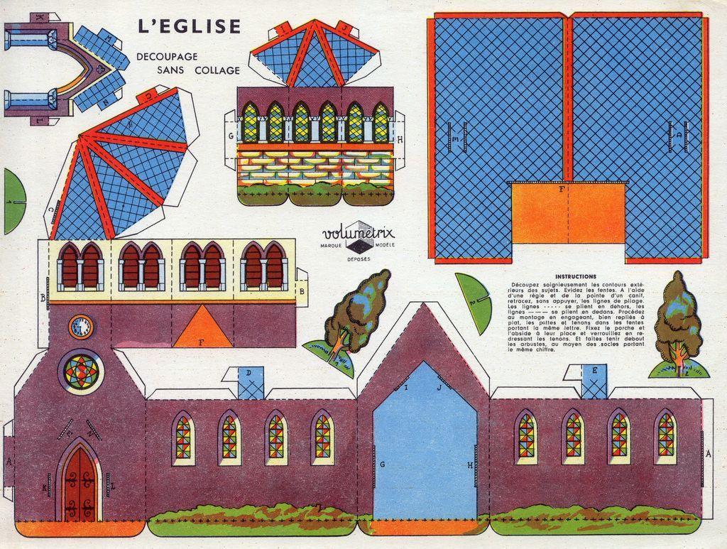 Activités Manuelles : Village (1) - L'église (Avec Images destiné Patron De Maison En Papier A Imprimer