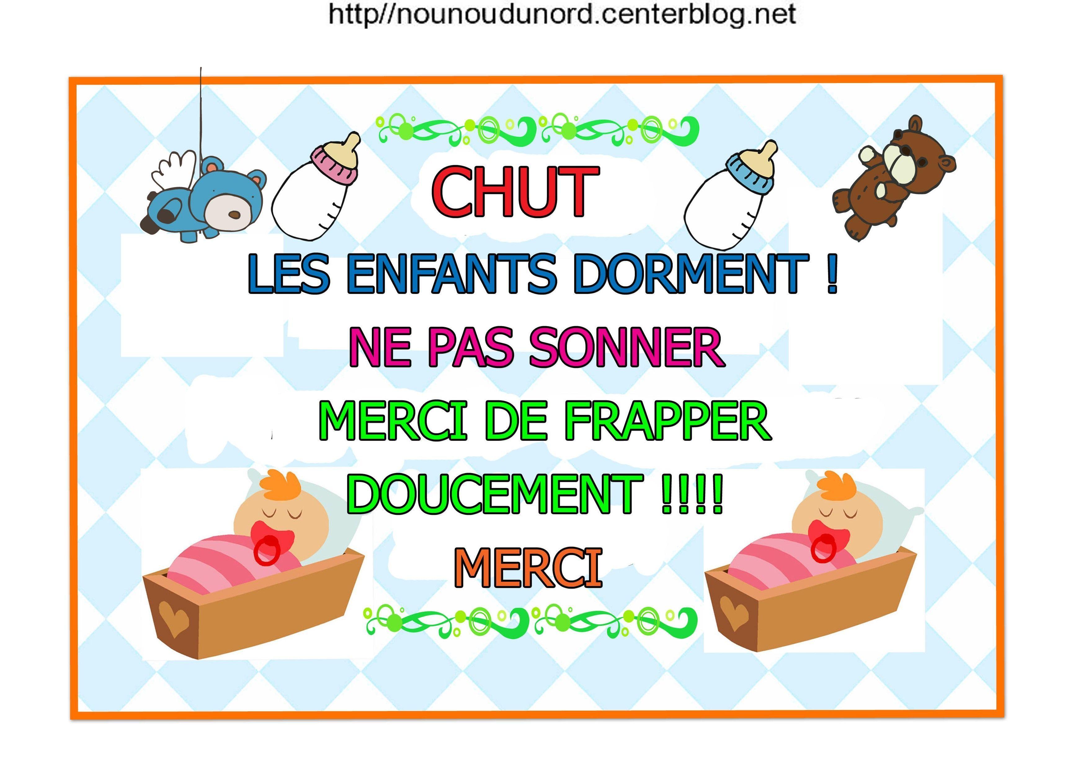 Affiche Bébé Dort Frapper Doucement à Image Chut Bébé Dort