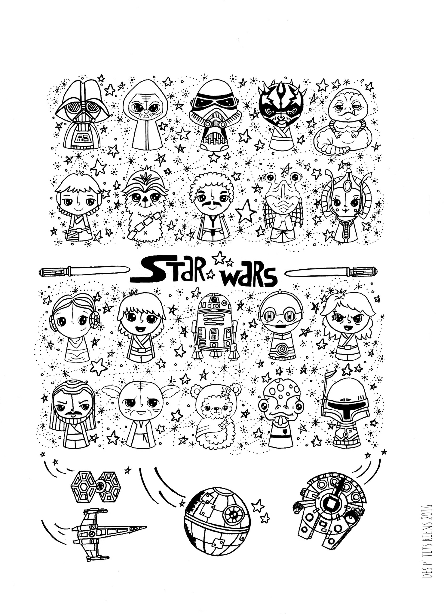 Affiche Black And White Star Wars Kawaii - Photo De À serapportantà Coloriage Manga Kawaii