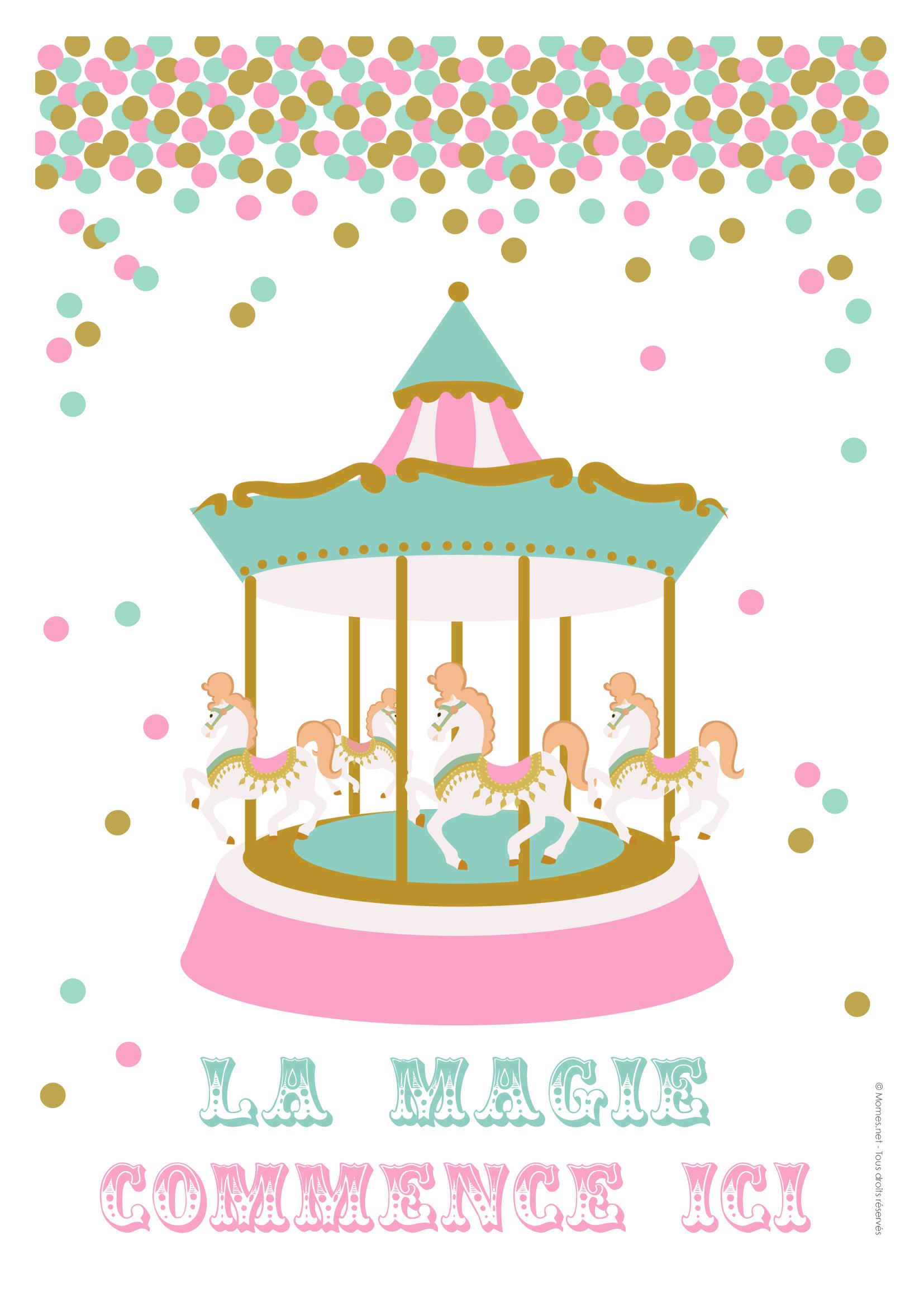 Affiche Carrousel Fête Foraine À Imprimer - Momes pour Dessin De Fete Foraine