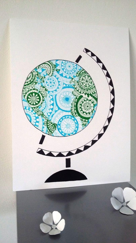 Affiche Illustration Mappemonde , Globe Terrestre : Affiches concernant Dessin Mappemonde