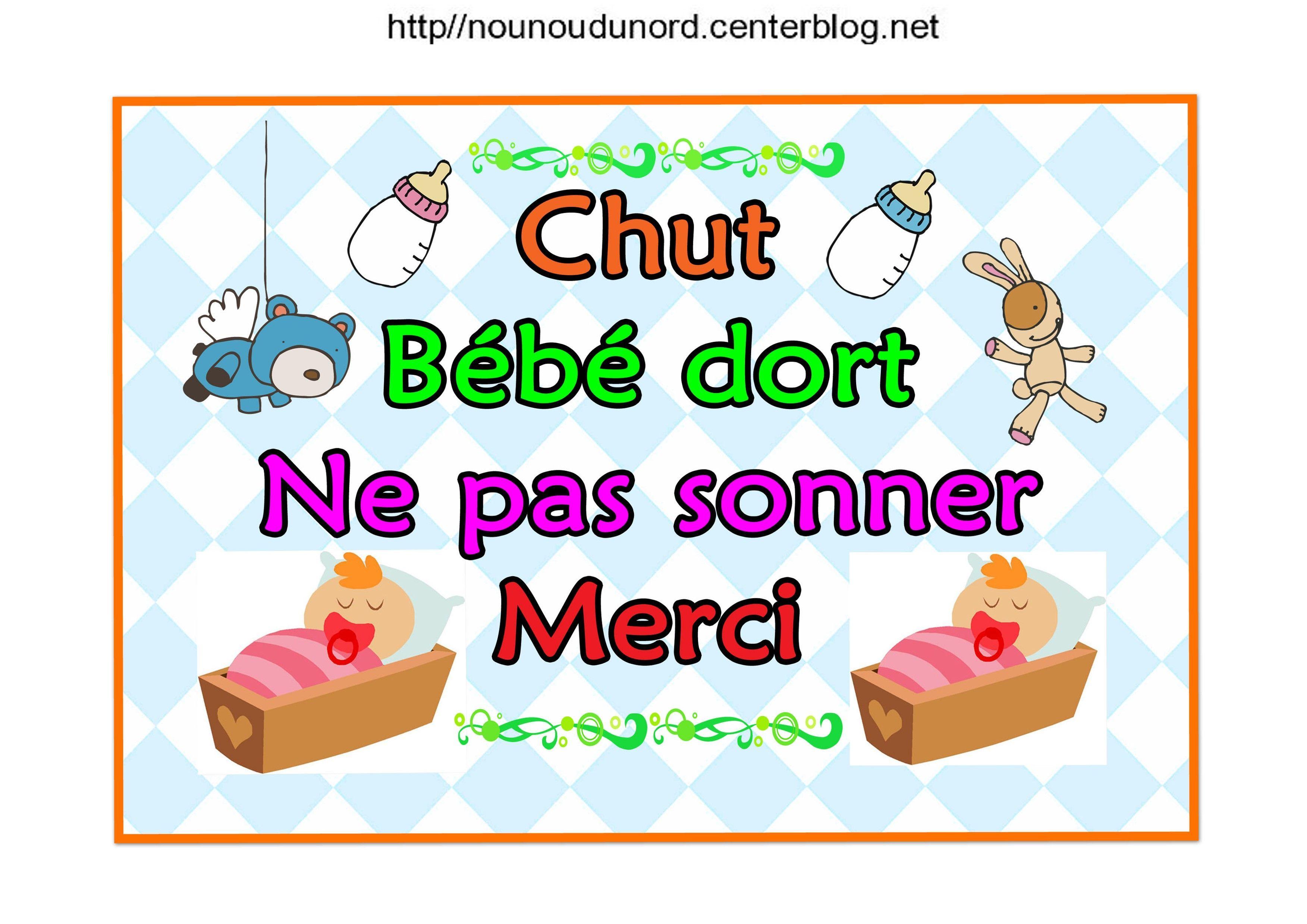 Affiches De Porte Chut Bébé Dort Ne Pas Sonner Merci serapportantà Image Chut Bébé Dort