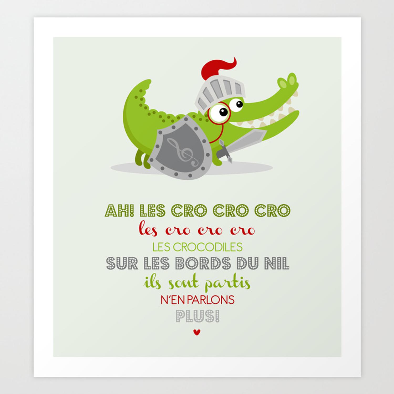 Ah Les Cro Cro Cro Art Print By Mariette_Design dedans Ah Les Cro