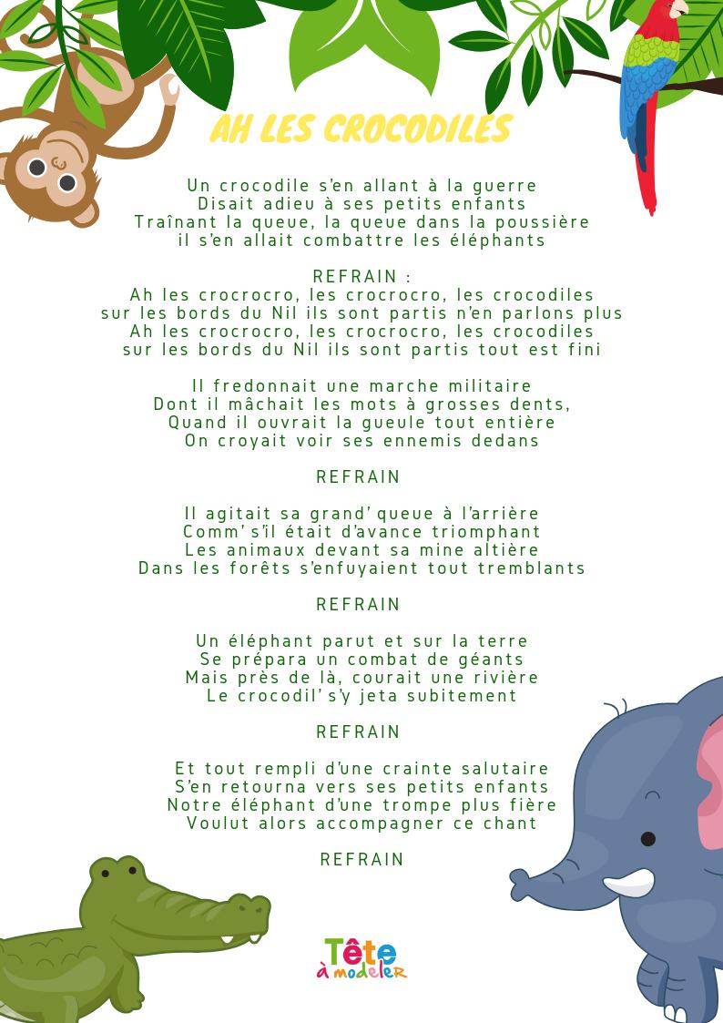 Ah Les Crocodiles, Les Paroles À Imprimer - Chanson Enfant dedans Chanson Pour Les Animaux