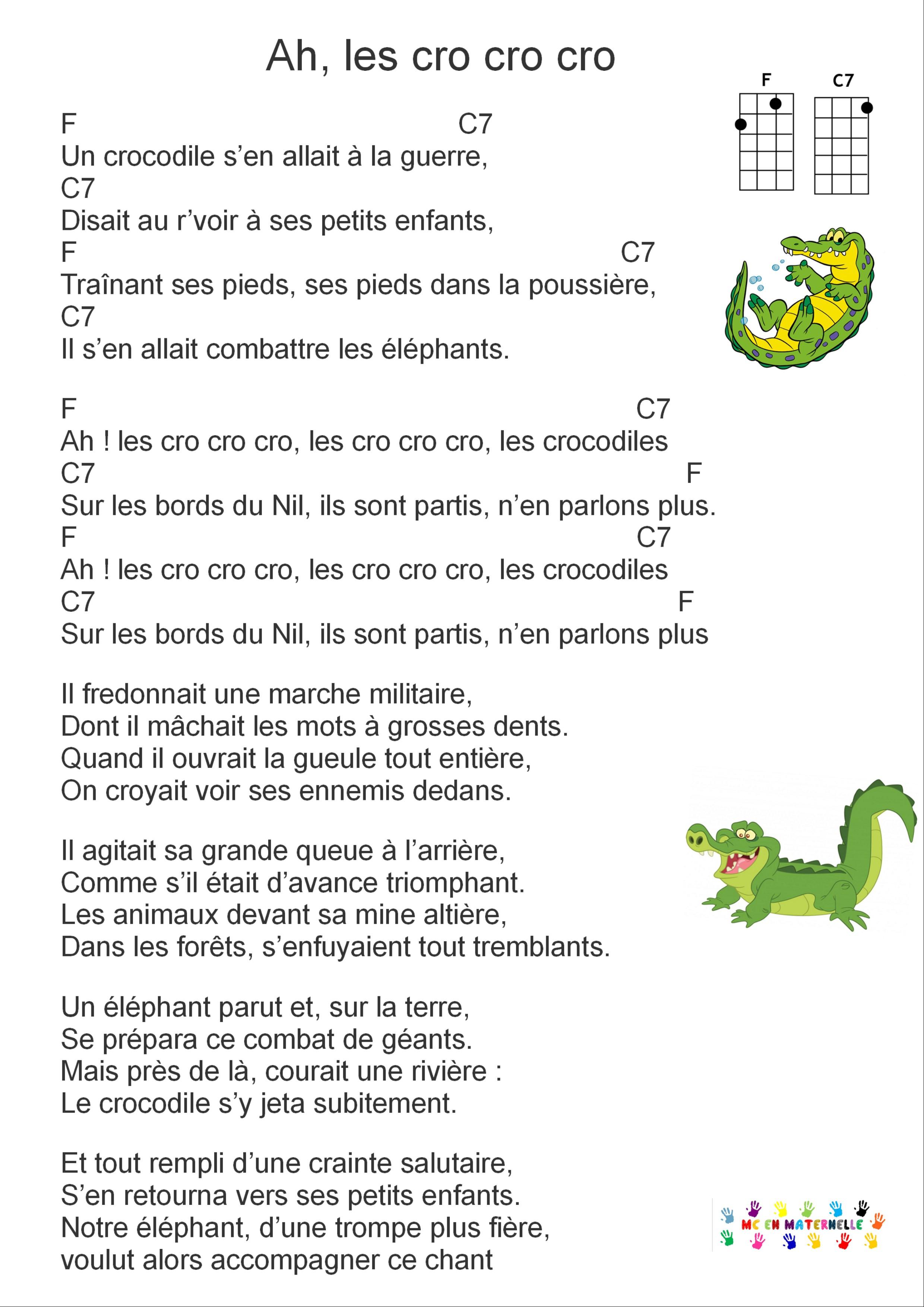Ah Les Crocodiles Pour Ukulélé – Mc En Maternelle pour Ah Les Cro