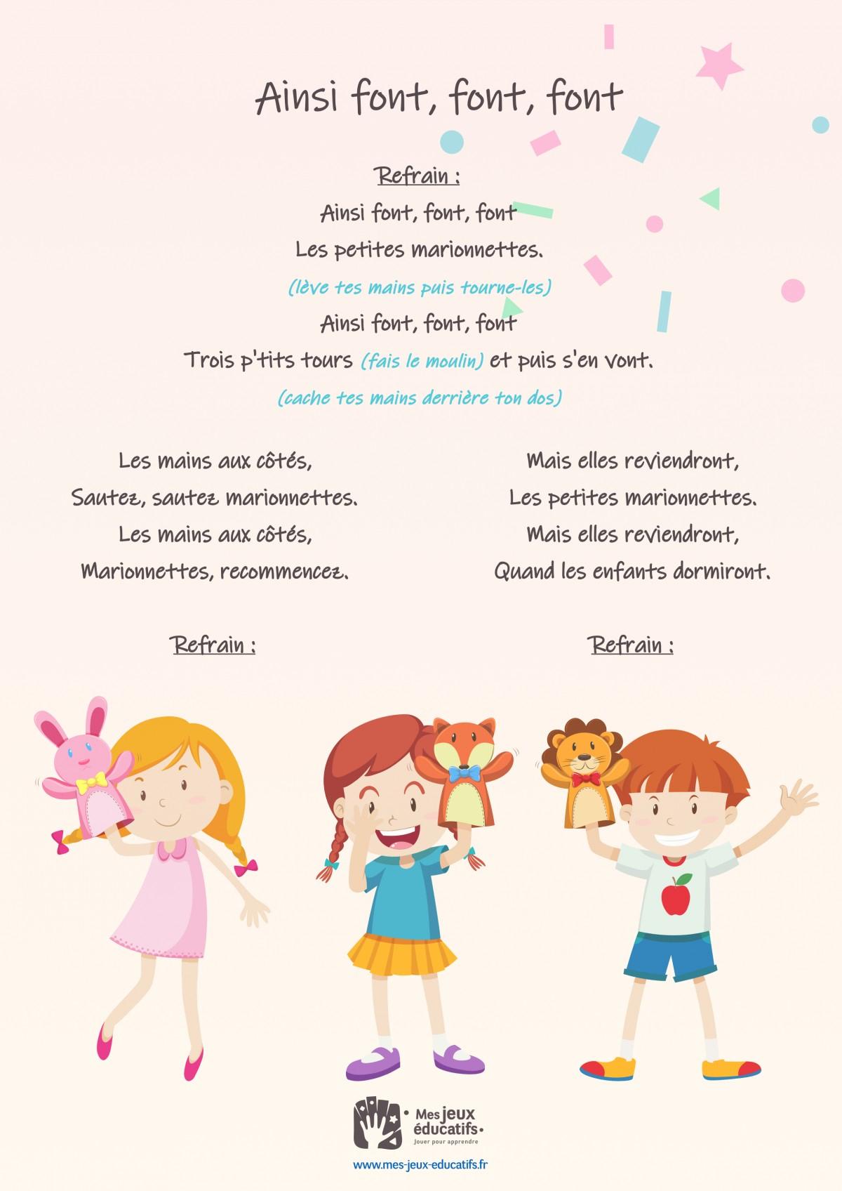 Ainsi Font, Font, Font, Comptine Mimée Pour Enfants > Mes à Les Petites Marionnettes Chanson