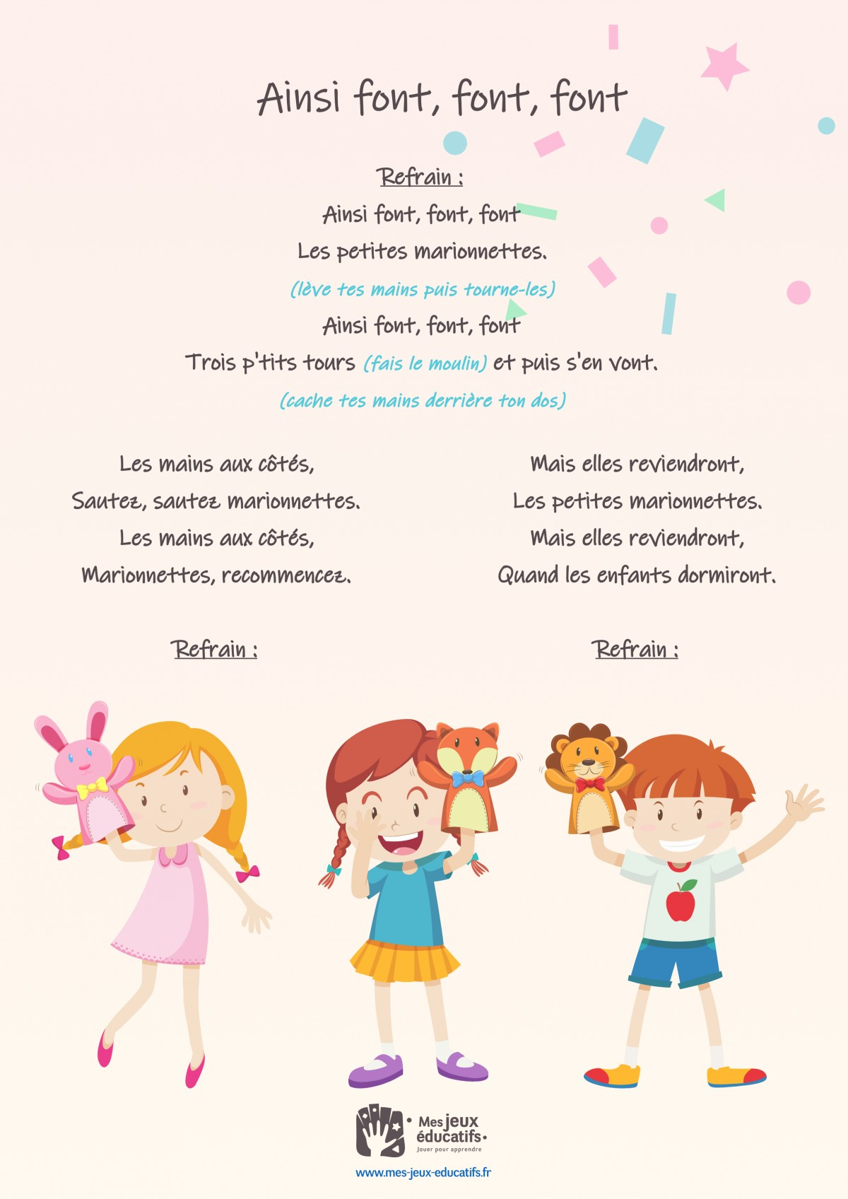Ainsi Font, Font, Font, Comptine Mimée Pour Enfants > Mes serapportantà Petit Moulin Chanson