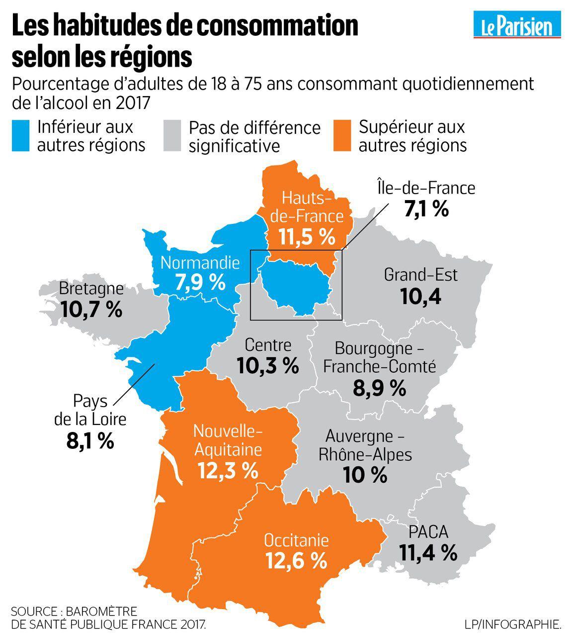 Alcool : Le Palmarès Des Régions Où On Boit Le Plus - Le intérieur Nouvelle Region France