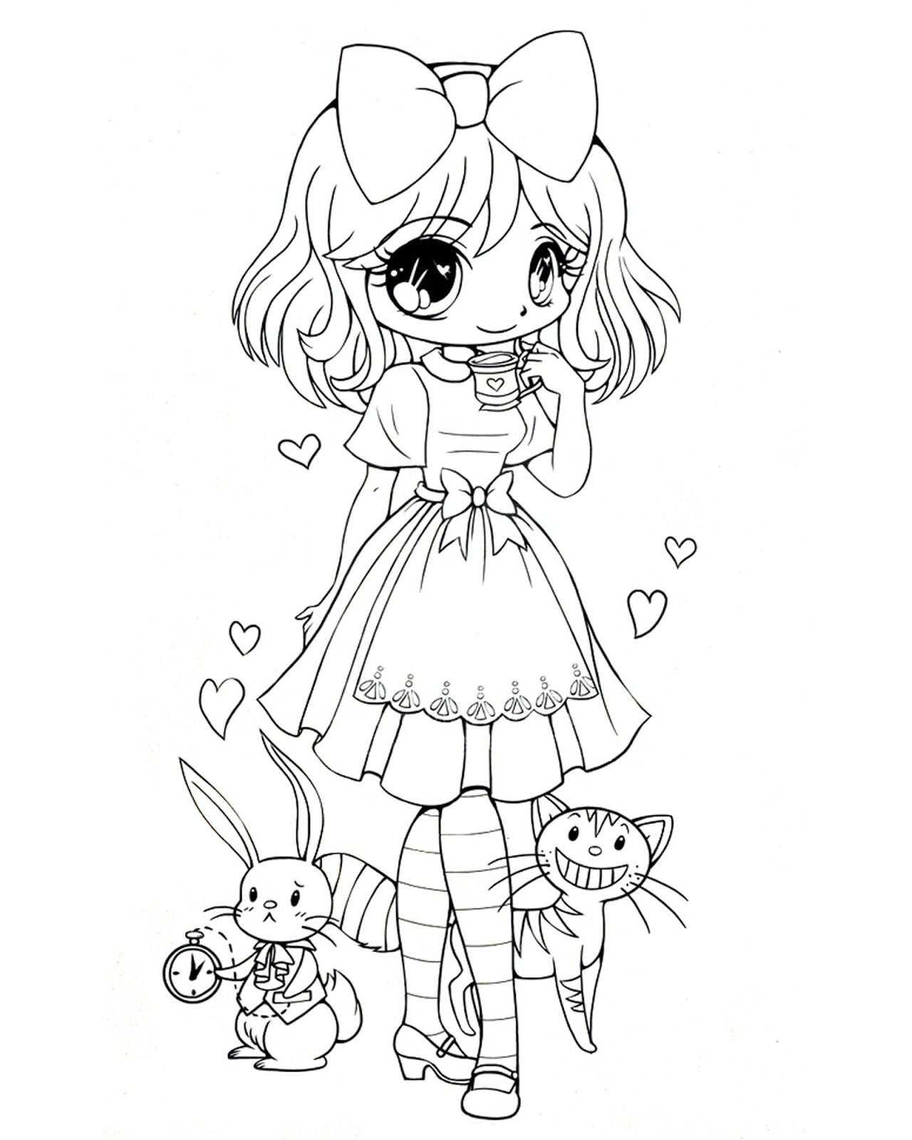 Alice In Wonderland | Coloriage Manga, Dessin Coloriage concernant Coloriage Manga Kawaii