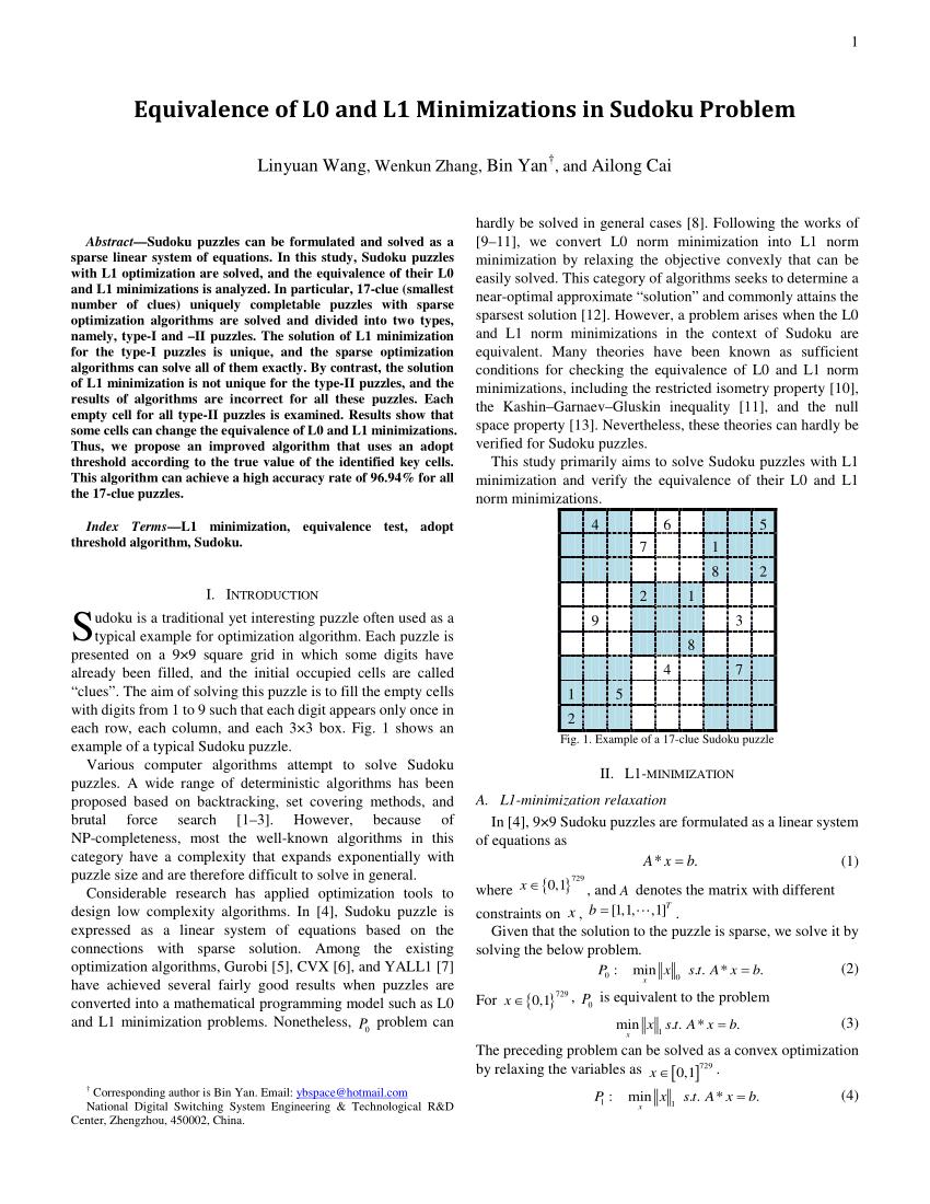 An Example Sudoku X Puzzle | Download Scientific Diagram dedans Sudoku Grande Section