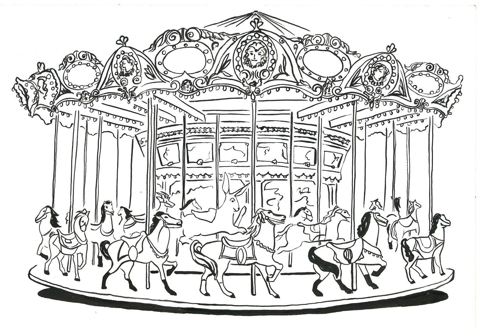 An Illustrated Carousel | Manege Fete Foraine, Dessin intérieur Dessin De Fete Foraine