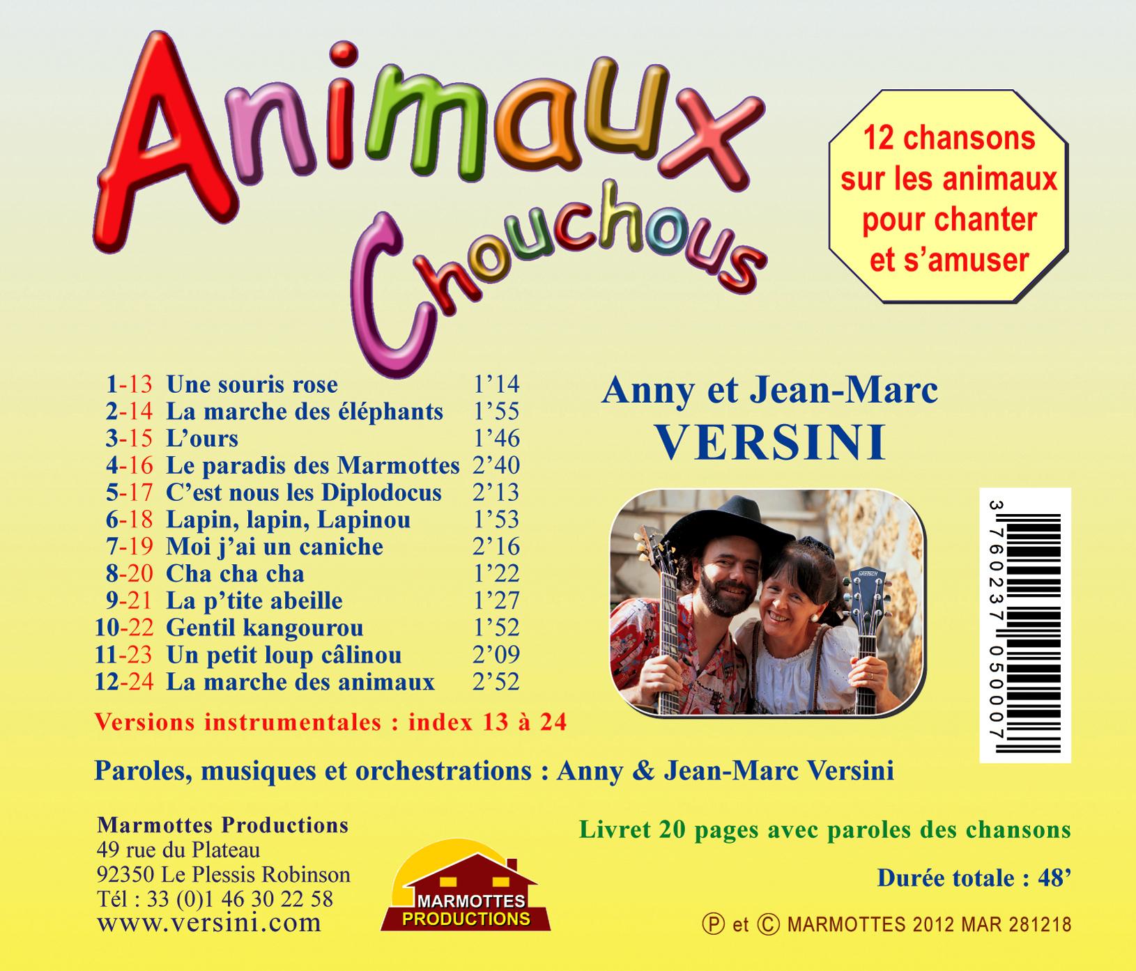 Animaux Chouchous (Cd De Compilation) - A Et J-M Versini pour Chanson Pour Les Animaux