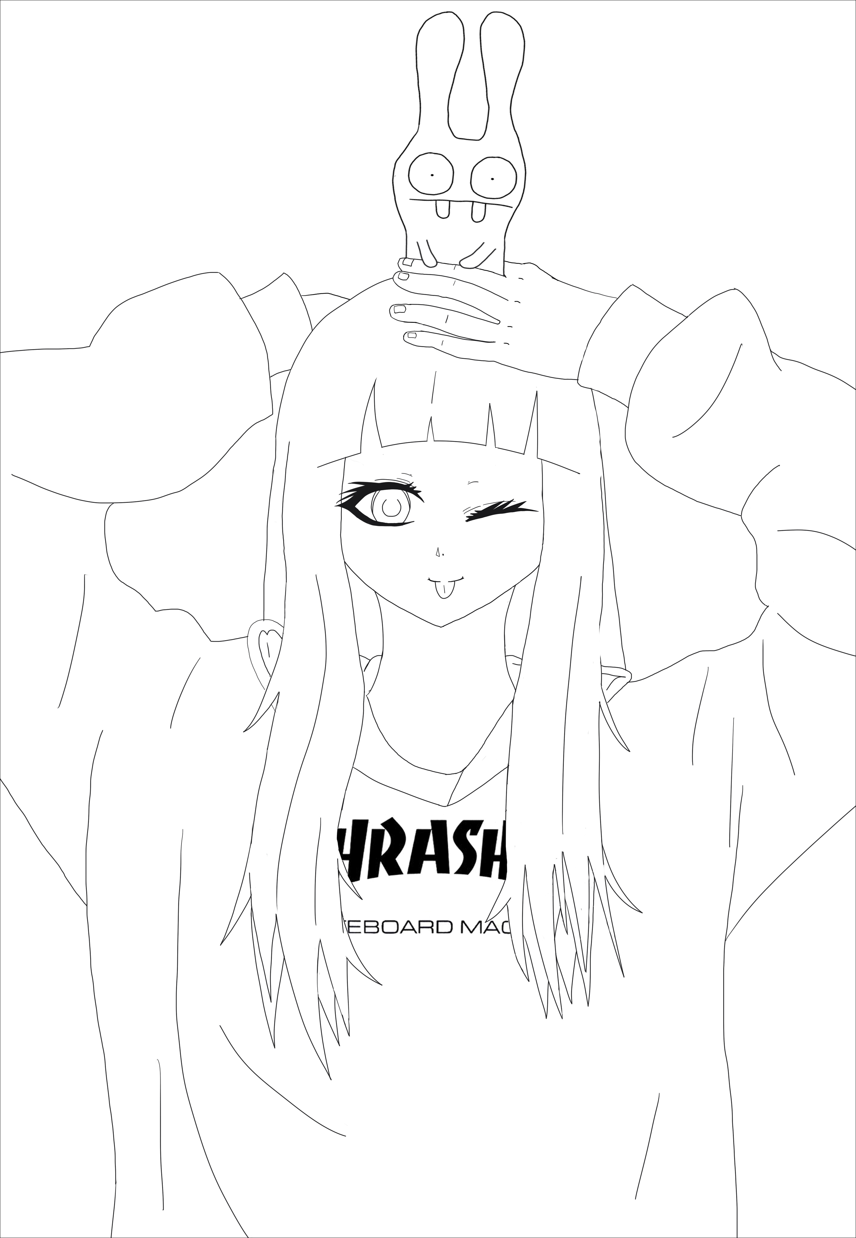 Anime Thrasher Girl - Mangas - Coloriages Difficiles Pour avec Coloriage Manga Kawaii