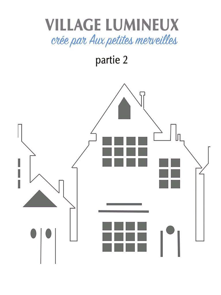 Aperçu Du Fichier Villagelumineux.pdf   Décor De Noël à Patron De Maison En Papier A Imprimer