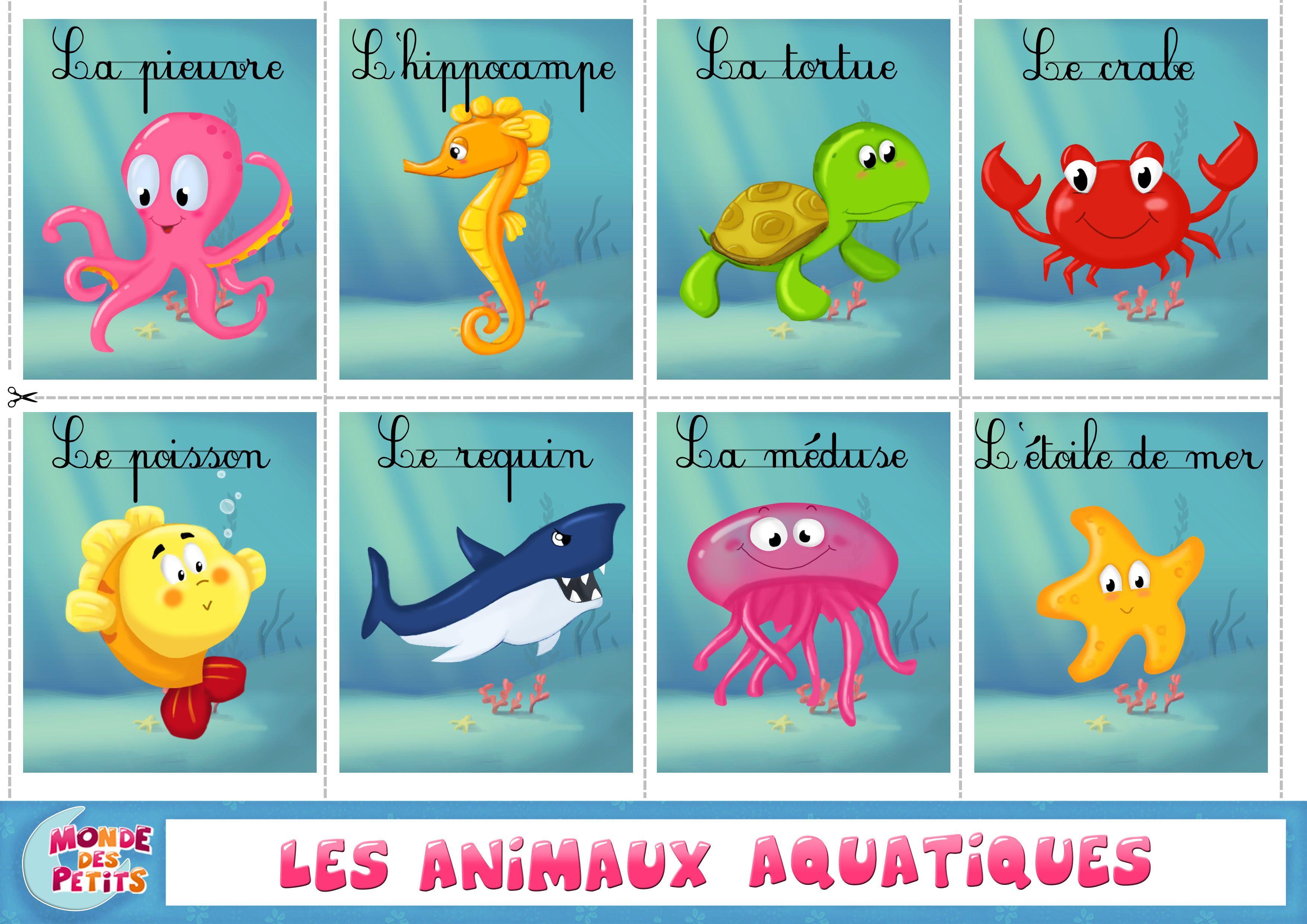 Apprendre-Animaux-Aquatiques-Francais (3508×2480 tout Apprendre Les Animaux Pour Bebe