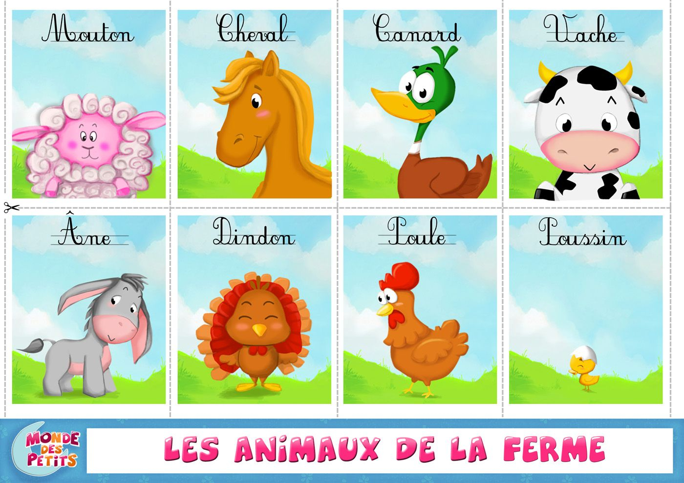 Apprendre Les Animaux De La Ferme: Cartes À Imprimer tout Apprendre Les Animaux Pour Bebe