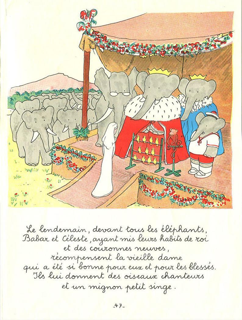 Art Babar/elephant/vintage Poster/childrens Poster/french avec Singe De Babar