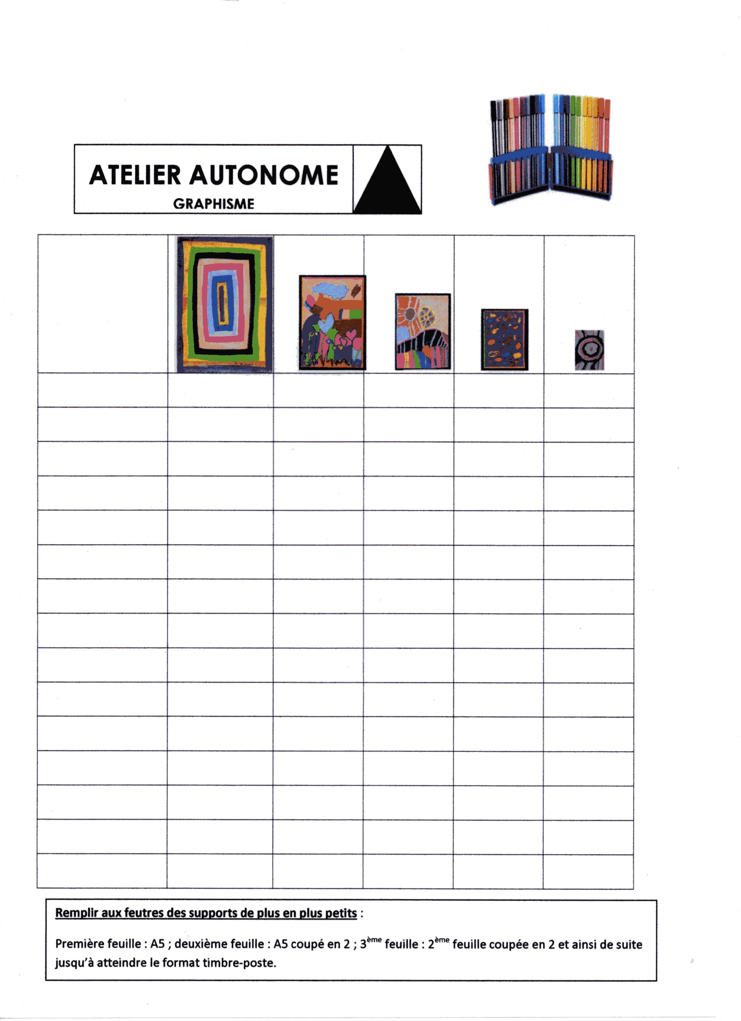Ateliers Autonomes Graphisme - École Maternelle Gellow encequiconcerne Atelier Autonome Grande Section