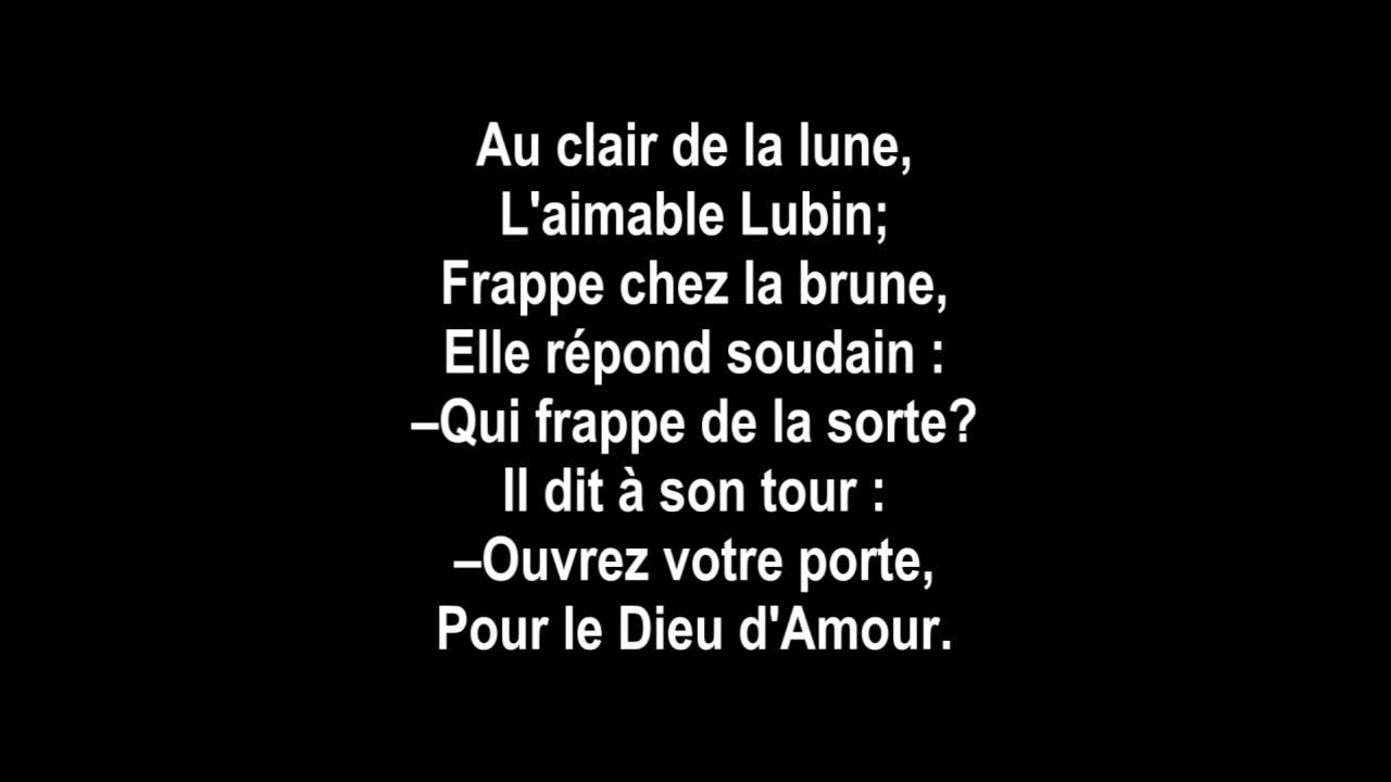 Au Claie De La Lune - Lyrics à Clair De La Lune Lyrics