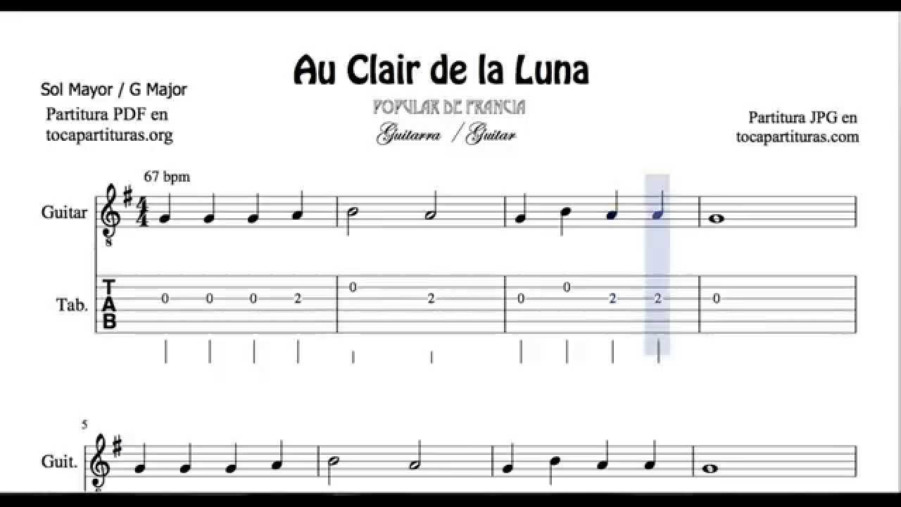Au Clair De La Lune Chords destiné Clair De La Lune Lyrics