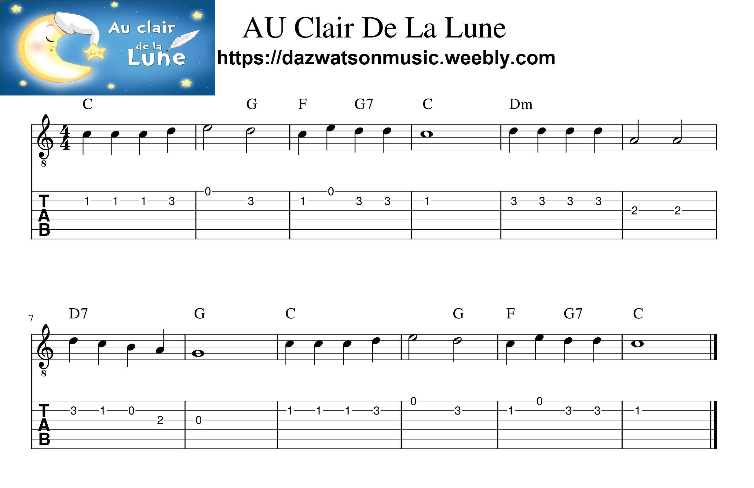 Au Clair De La Lune Easy Guitar Tab (With Images) | Easy concernant Clair De La Lune Lyrics