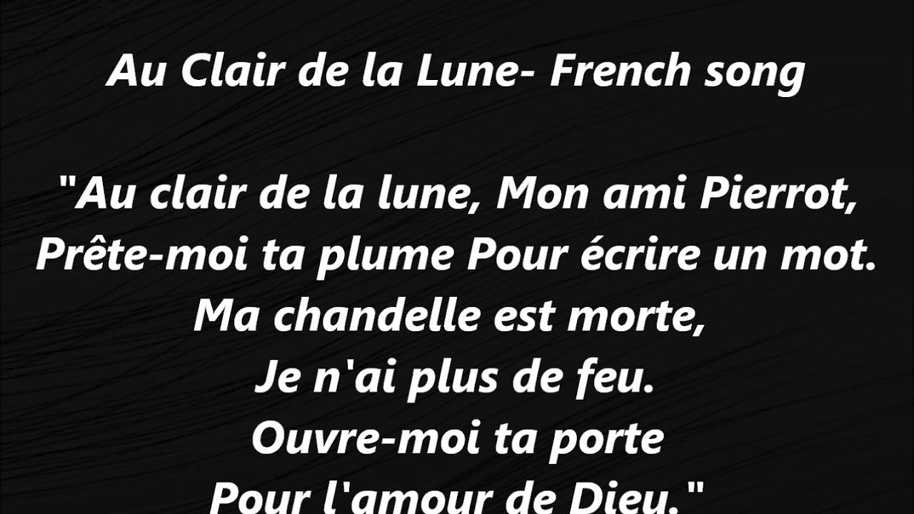 Au Clair De La Lune French Song Lyrics Words Text Sing Along Songs Music  Suzuki Bébé Baby Lilly Gall avec Clair De La Lune Lyrics