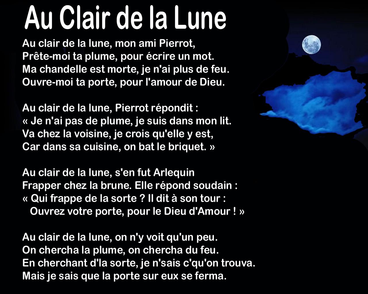 Au Clair De La Lune – Learn French concernant Clair De La Lune Lyrics