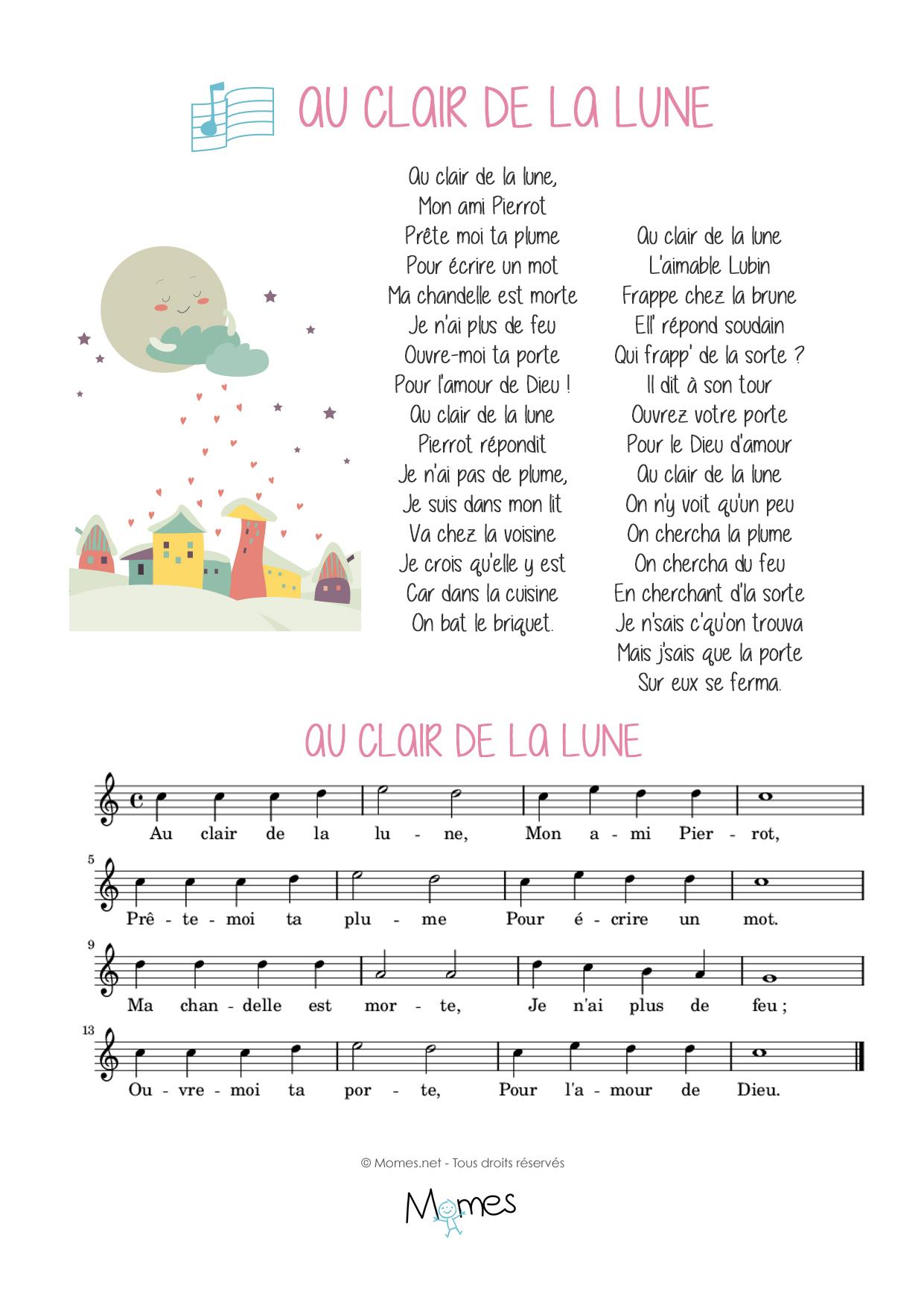 Au Clair De La Lune - Momes concernant Clair De La Lune Lyrics