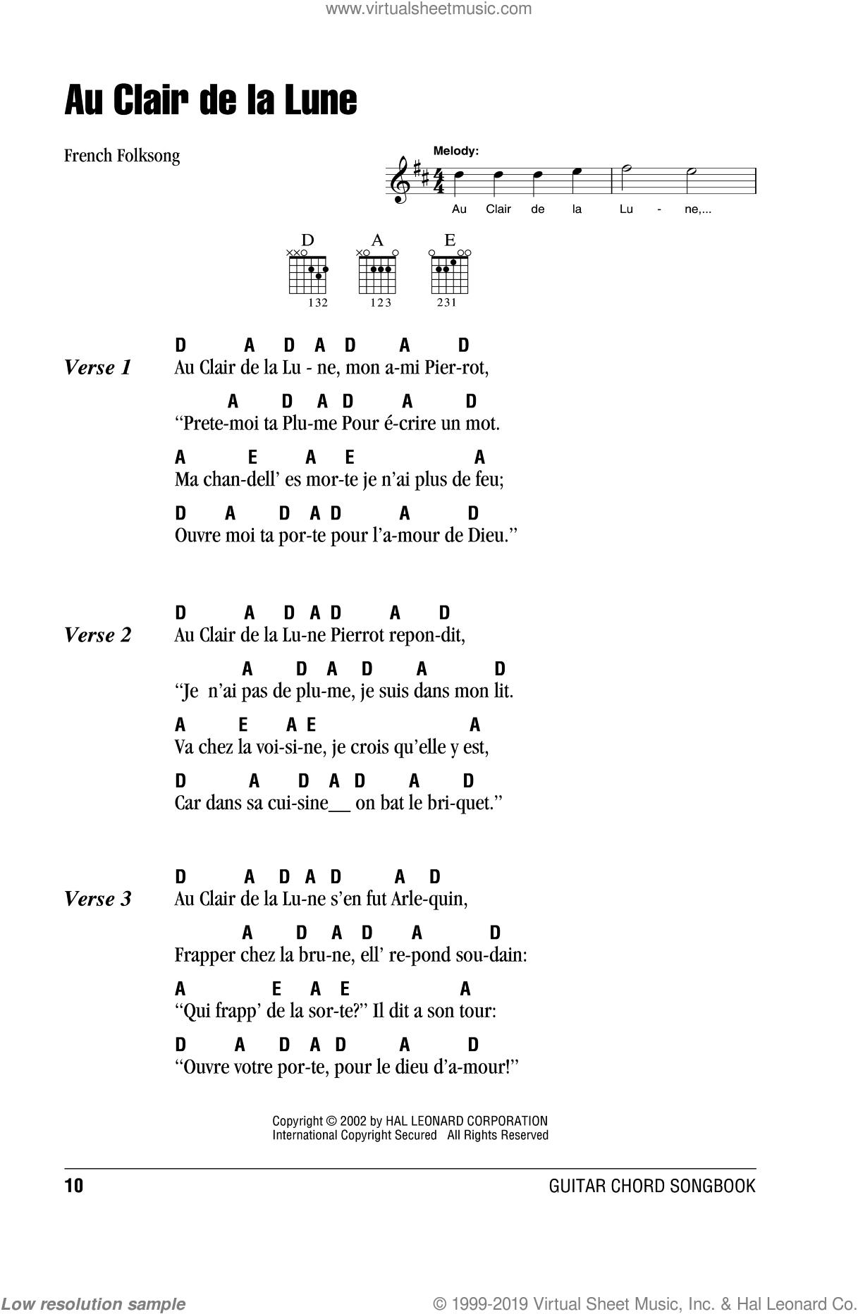 Au Clair De La Lune Sheet Music For Guitar (Chords) [Pdf] dedans Clair De La Lune Lyrics