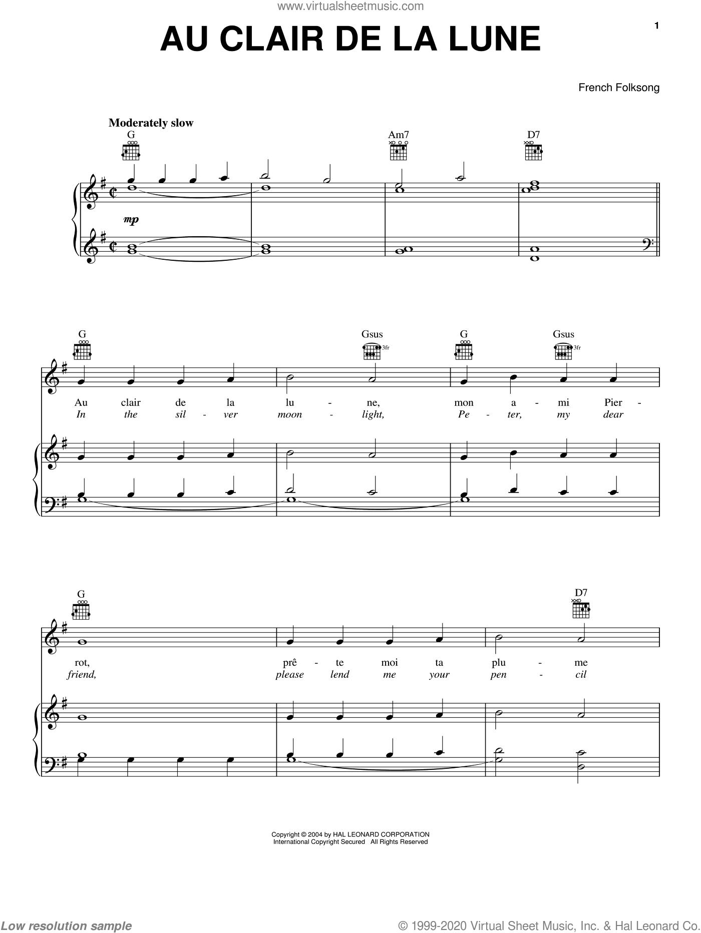 Au Clair De La Lune Sheet Music For Voice, Piano Or Guitar [Pdf] avec Clair De La Lune Lyrics