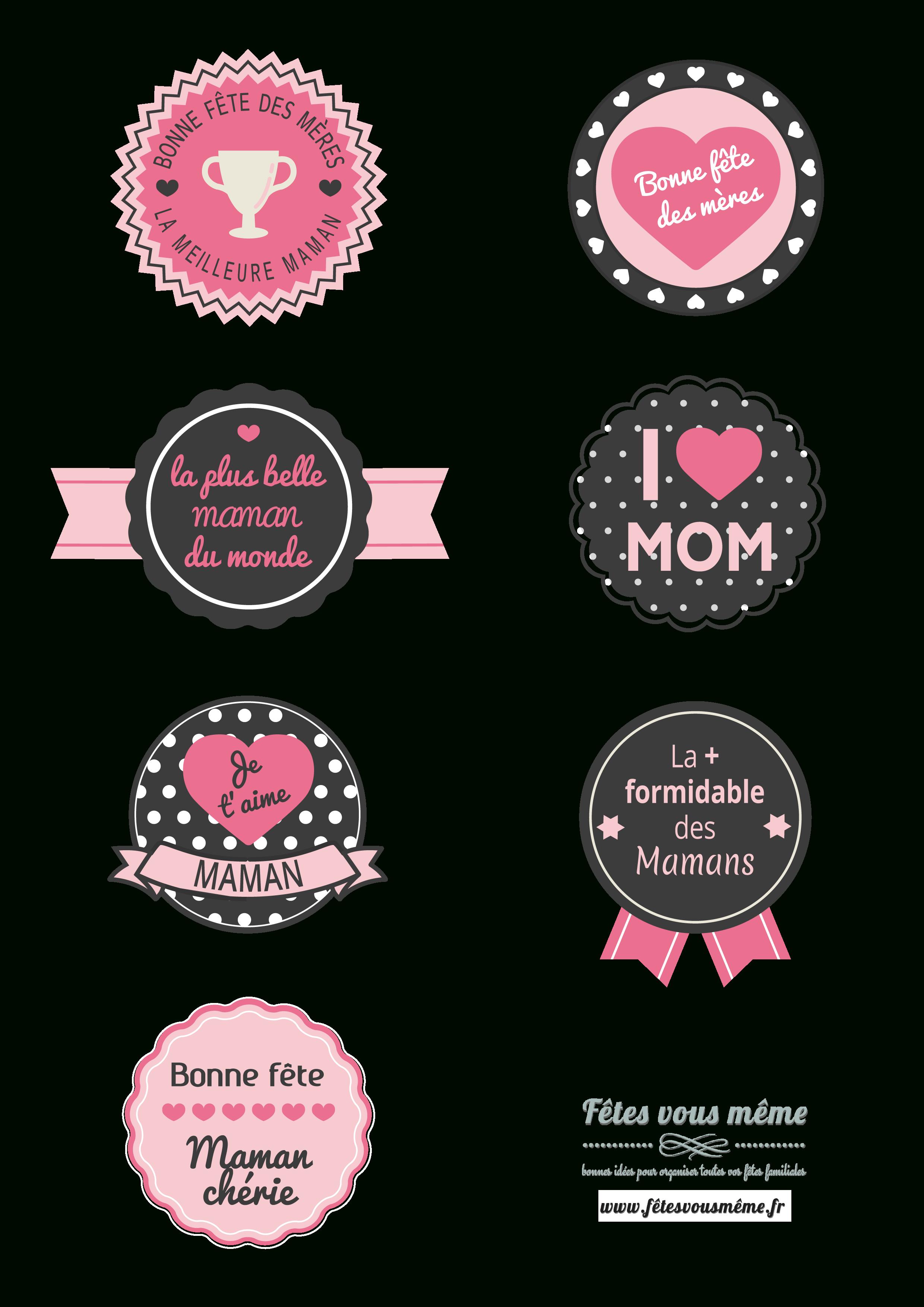 Badges Fête Des Mères   Idée Cadeau Fête Des Mères Original destiné Carte Bonne Fete Maman A Imprimer