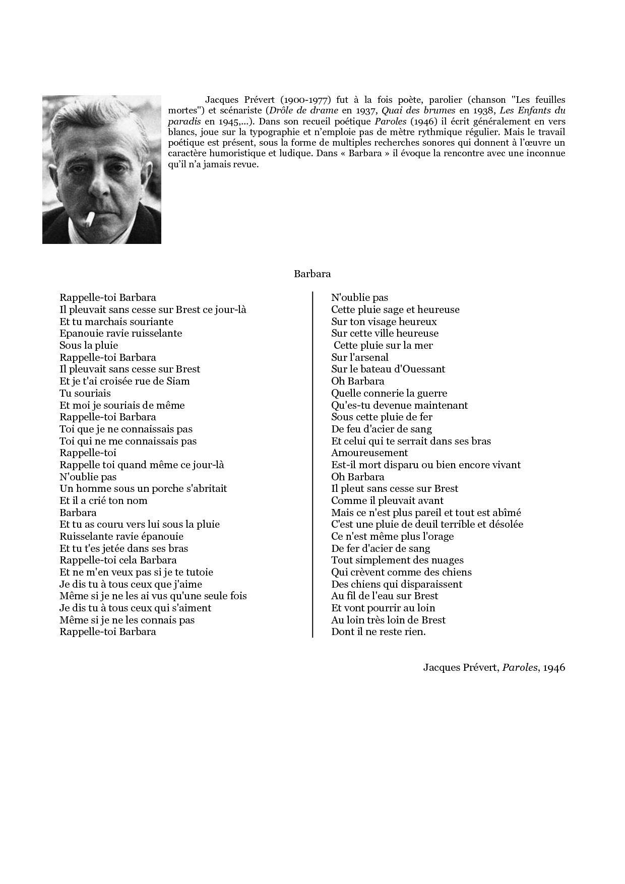Barbara Poème De Jacques Prevert. Plein De Souvenirs à Poeme De Jacque Prevert