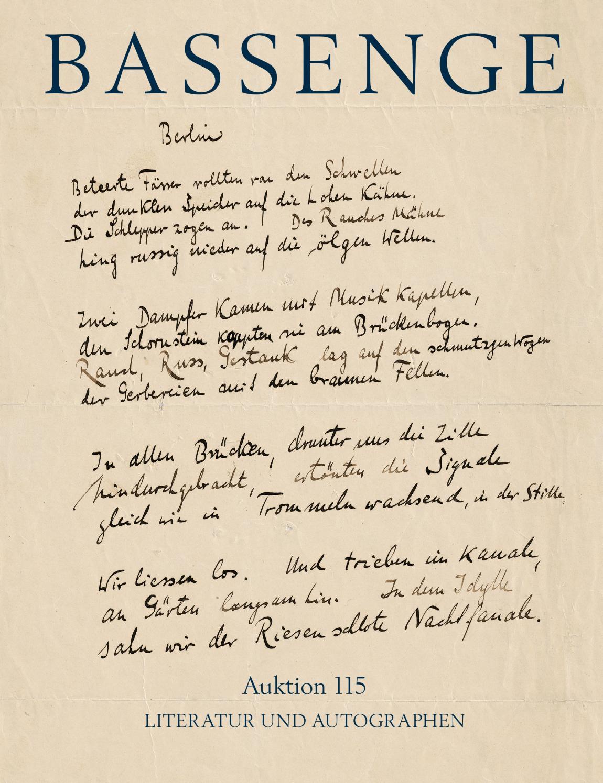 Bassenge Buchauktion 115: Literatur Und Autographen By serapportantà Poeme Voeux Nouvel An