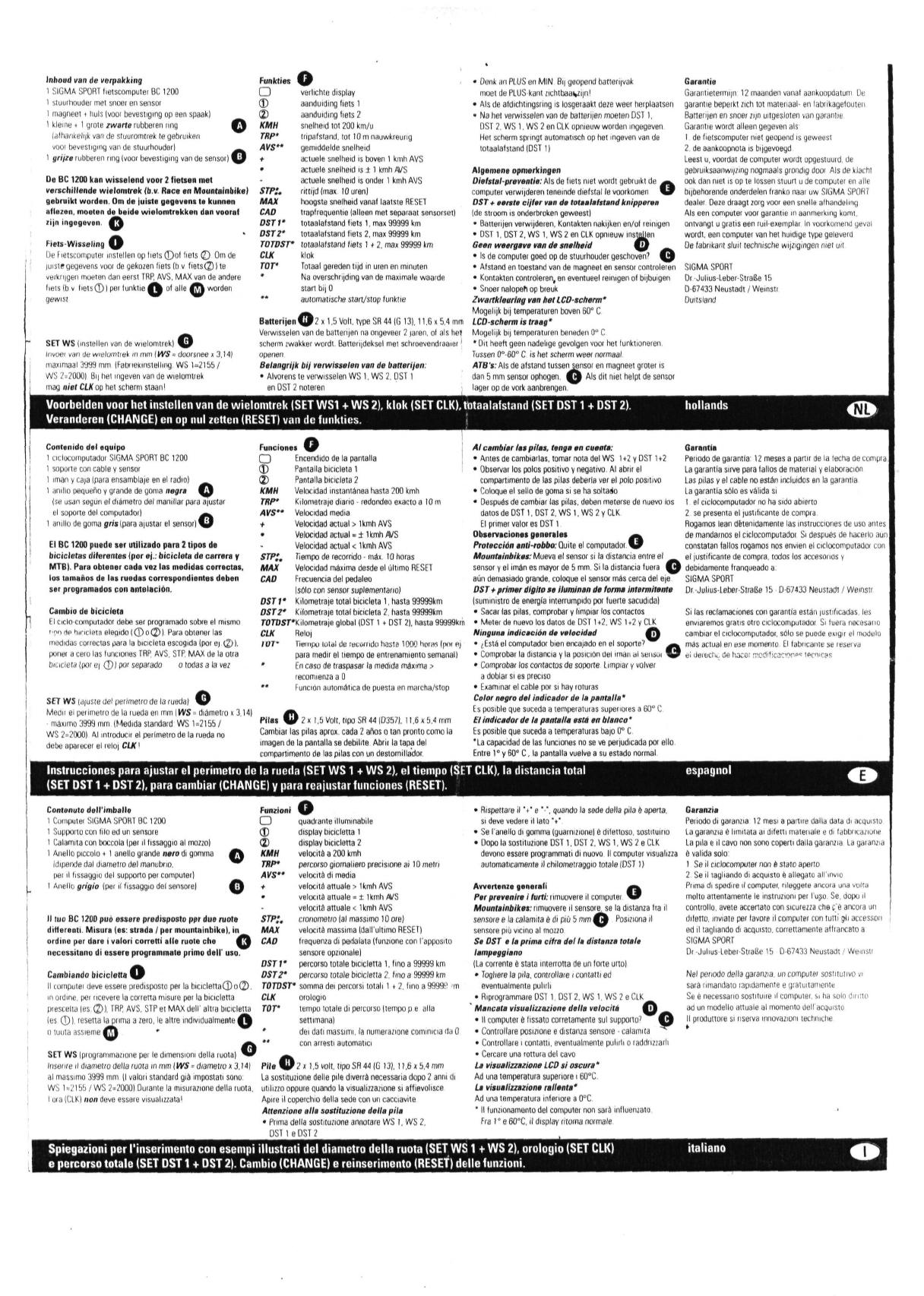 Bedienungsanleitung Sigma Sport Bc 1200 Topline 1995 (Seite concernant Chiffres Espagnol 1 À 1000