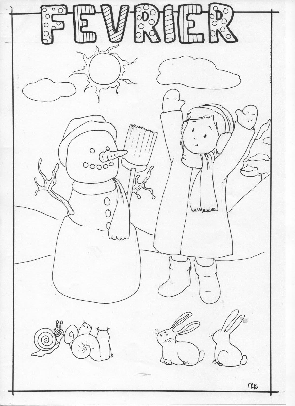 Bibouche En Classe : Calendrier Du Mois De Février Et intérieur Coloriage Février