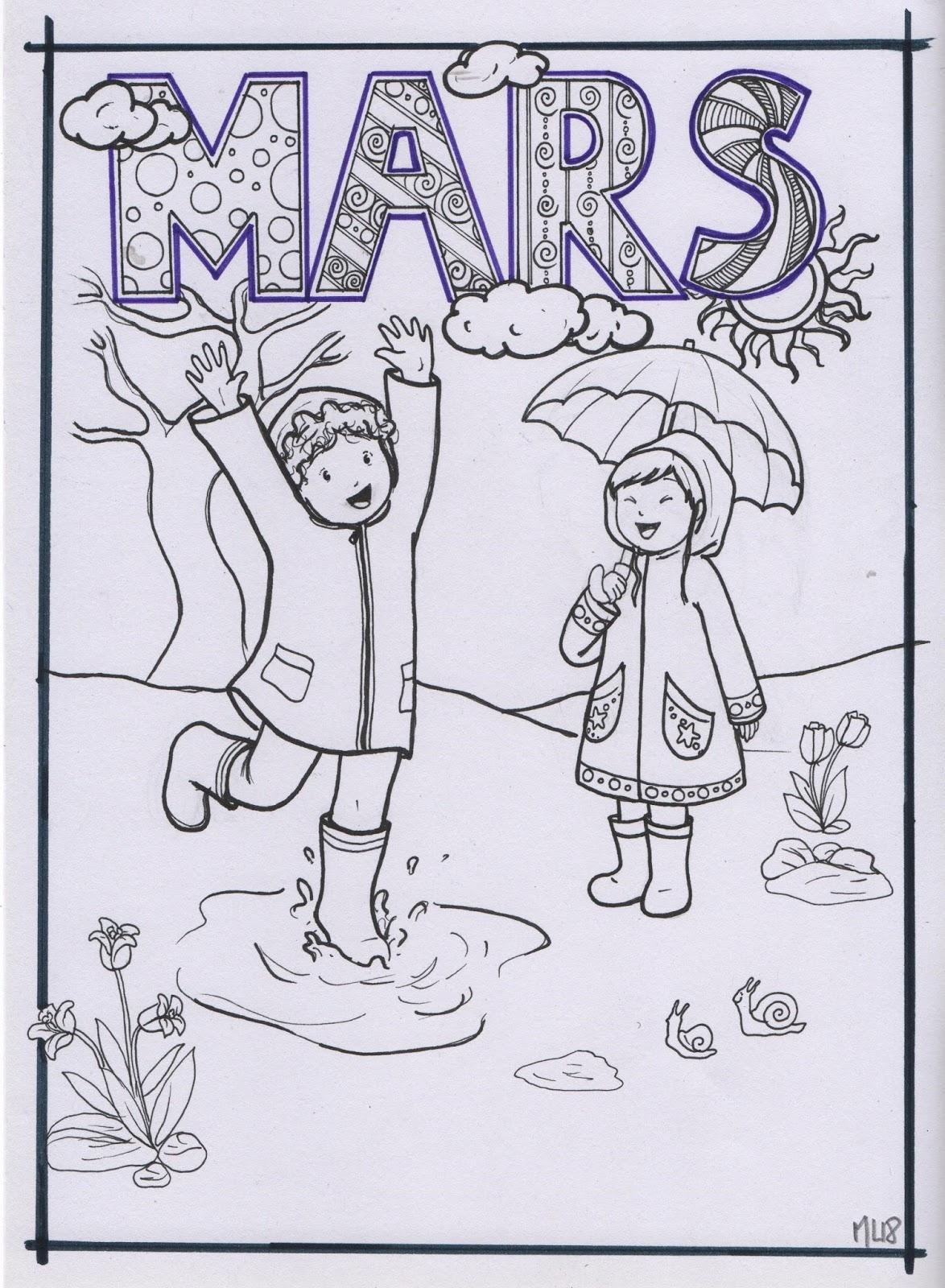 Bibouche En Classe : Coloriage Du Mois De Mars dedans Coloriage Février