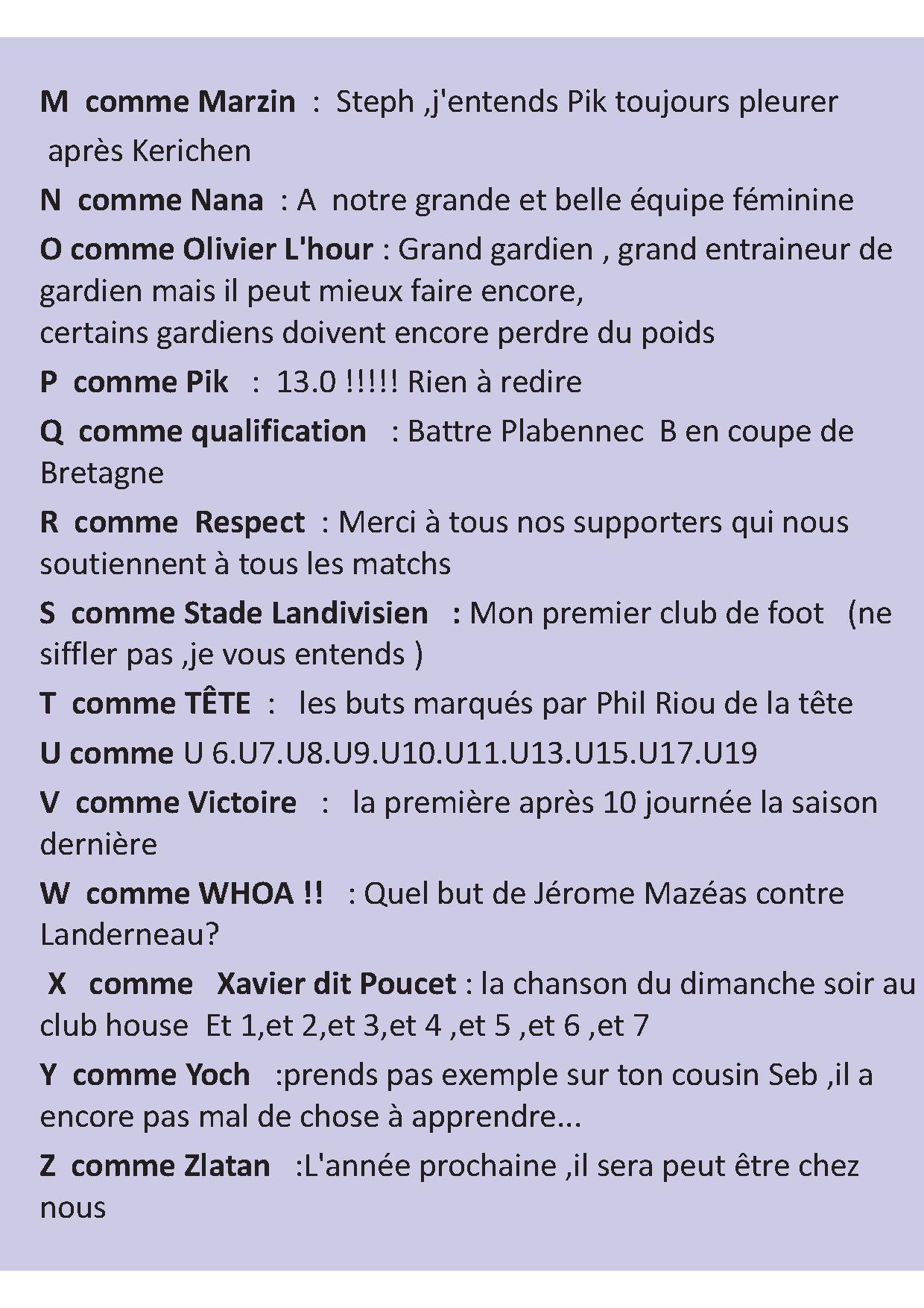 Bodilis Plougar Football Club - L'abécédaire De  Jean Hélard pour Exemple D Un Abécédaire