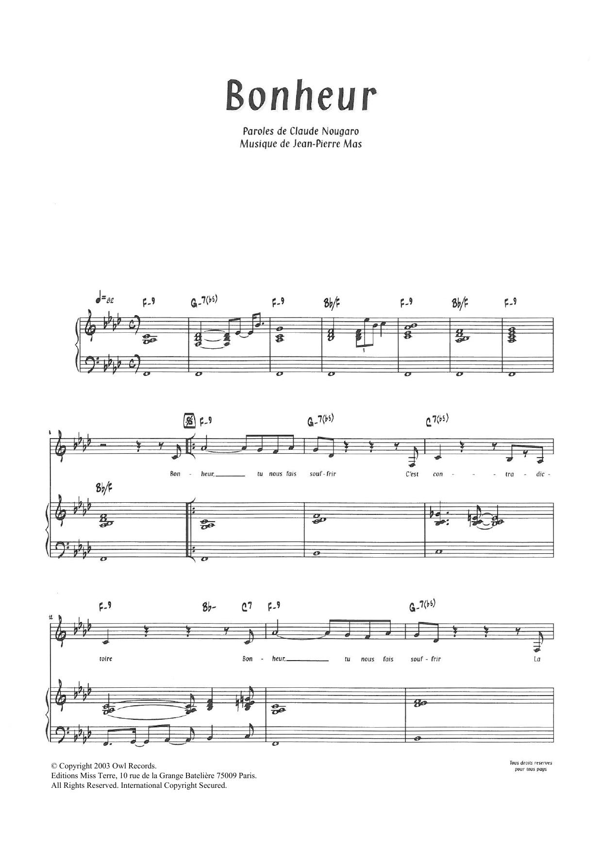 Bonheur By Claude Nougaro Piano & Vocal Digital Sheet Music intérieur Bon The Bonheur